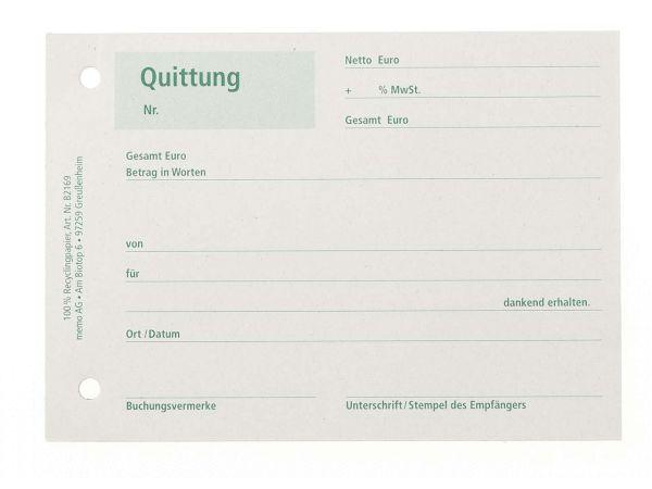 memo Formularblock Quittung, 50 Blatt