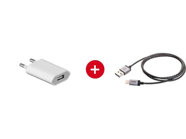 USB-Ladegerät, 5V, 1.000 mA + Cabstone Ladekabel Apple-Lightning-Connector