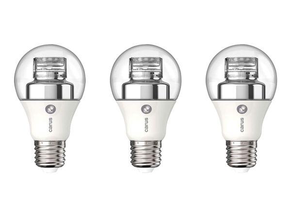 "3er-Pack carus LED-Lampe ""Dim by click"" 8 W, E27, 600 lm, dimmbar"