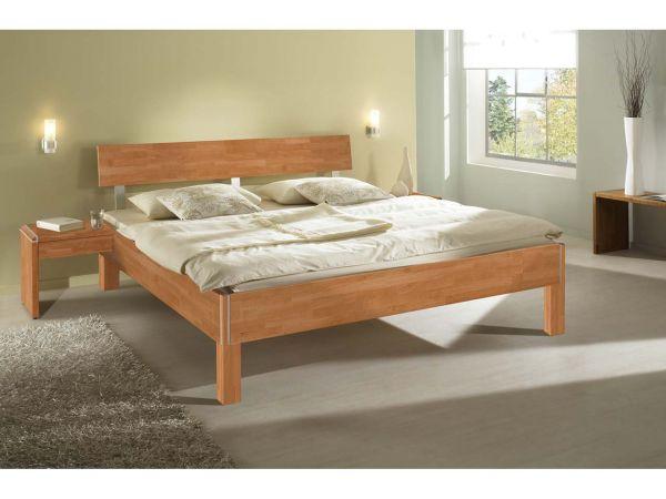 """Bett """"Varo"""" Buche massiv mit Holzfuß, 90 x 200 cm"""