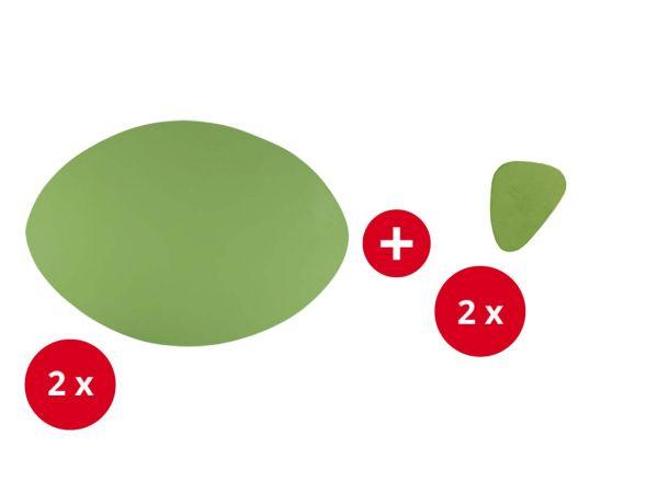 2 Tischsets + 2 Glasuntersetzer aus Recyclingleder grün