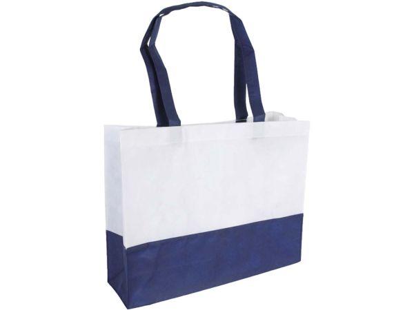PP-Shopping-Tasche weiß/blau 38x29x10 mit zwei Henkeln