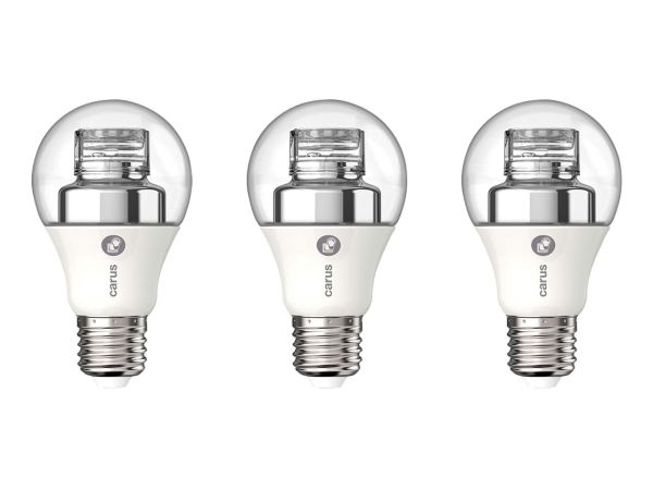"""3er-Pack carus LED-Lampe """"Warm by click"""" 7,5 W, E27, 470 lm, dimmbar"""