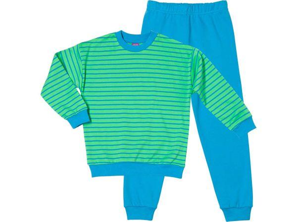 Kinderschlafanzug grün-blau Gr. 116 aus kontrolliert biologischer Baumwolle