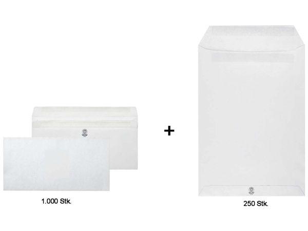 1.000 Briefumschläge DL SK oF grau + 250 Versandtaschen C4 SK oF grau