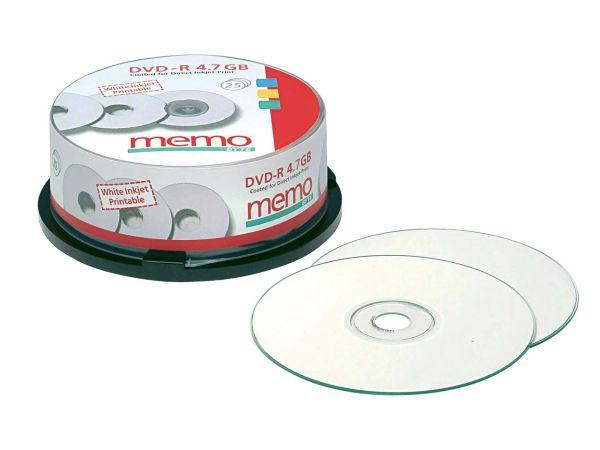 25 memo DVD-R for Inkjet-Print 16x