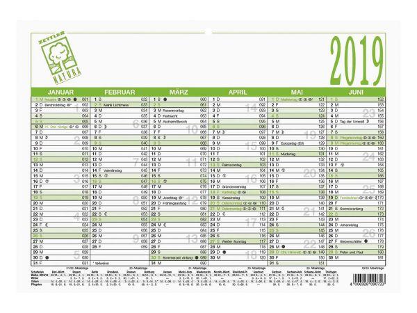 Zettler Wandtafelkalender DIN A4 2019