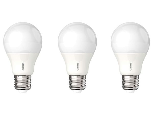 """3er-Pack carus LED-Lampe """"Tageslicht"""" 8,6 W, E27, 600 lm, dimmbar"""