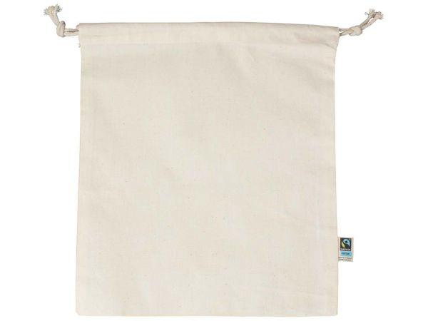 memo Bio-Baumwoll-Zuziehbeutel, mit Fairtrade-Siegel,natur,25x30cm