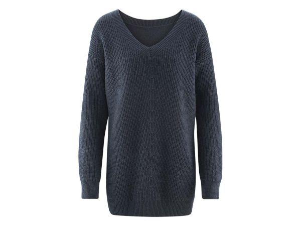 "Bio-Damen-Pullover ""Floris"" dunkelblau melange, Gr. XL"