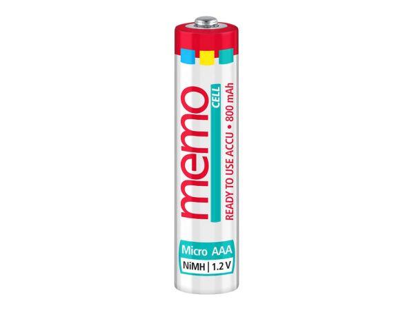 """memo """"CELL"""" Ready to use Akku Micro AAA 1,2 V NiMh 800mAh"""