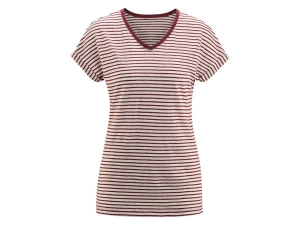 """Bio-Damen-T-Shirt """"Ava"""" aus Leinen weiß/rot, Gr. M"""